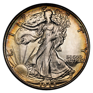 1944-S Walking Liberty Half Dollar NGC MS65 Star Prooflike CAC Approved & Color