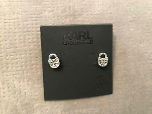 Karl Lagerfeld Mini Choupette Lock Stud Earrings Silver Tone