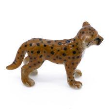"Miniature Ceramic Wild Cheetah Cub Figurine 1.75"" Long Glossy Finish New"