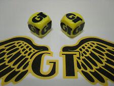 Old school BMX GT JAUNE & NOIR DUST VALVE CAPS permormer équipe Tour Pro Series