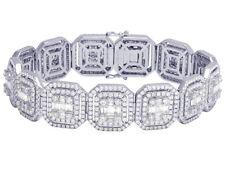 Mens Square Baguette Diamond Statement DESIGNER 14k White Gold Bracelet 16 3/4ct