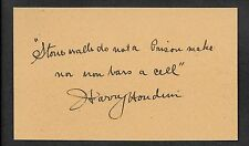 Harry Houdini Autograph Reprint On Genuine Original Period 1910s 3x5 Card *Q