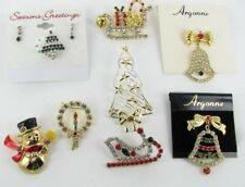 8 pc lot collection Christmas Jewelry Rhinestone sleigh tree bell snowman wreath
