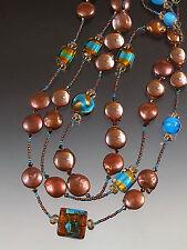 Sale - Bess Heitner Opulent Bronze Coin Pearl Venetian Glass Long Necklace