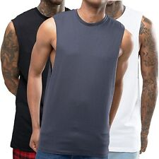 3 Pack Sleeveless T Shirt with Dropped Arm hole Vest Tank Top White Black Grey