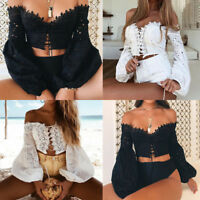 Fashion Women Off Shoulder Long Sleeve Lace Up Crop Tops Hollow T-Shirt Blouse