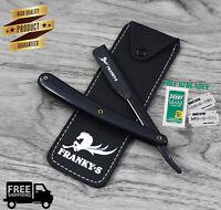Black Handle Straight Edge Barber Razor Folding Shaving Knife with 10 Blades