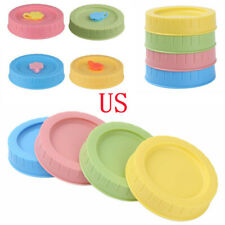 4 Plastic Lids Storage Caps Covers for Regular Ball Wide Mouth Mason Jars Drink
