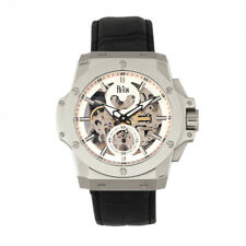 Reign Commodus Automatic Skeleton Dial Black Leather Silver Men's Watch RN4001