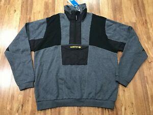 MENS LARGE - NWT adidas Trefoil Adventure Filed Pullover Half Zip Sweatshirt
