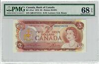 Canada $2 Dollars Banknote 1974 BC-47a-i PMG Superb GEM UNC 68 EPQ