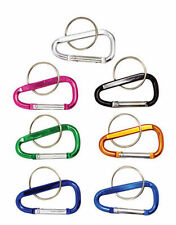 """New 6pc 2""""(45mm) Aluminum Carabiner D-Ring Key Chain Clip Hook - Assorted Colors"""