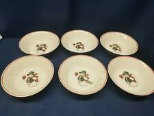 Vintage Snowman Holiday Stoneware Set of 6 Soup/Cereal Bowls Very Nice!