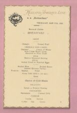 Holland America shipping line Breakfast menu, S.S. Rotterdam. 1923..