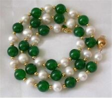 """New 7-8MM White Akoya Pearl & Green Emerald Necklace 18"""""""