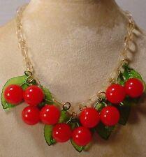 Vintage Celluloid Chain Fruit RED CHERRIES Bakelite Charm Necklace Choker