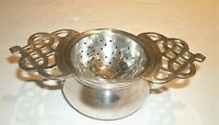 Vtg Silverplate Tea Strainer & Bowl Double Handled (2 piece set )
