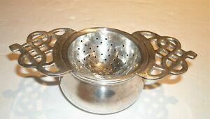 Vtg Silverplate Tea Strainer & Bowl Double Handled (2 piece set )