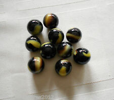 20 Glass Marbles BUMBLE BEE- HORNET Yellow Brown black game lot Pelitier - Akro