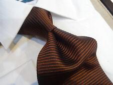Fabio Italian Silk Tie Necktie Solid Cocoa Brown Horizontal Stripe