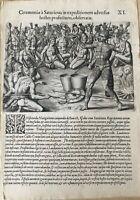 De Bry - Satouriona prepares - Florida - Original Engraving - 1591 - Le Moyne