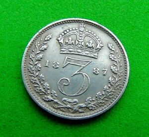 UNCIRCULATED  JH  VICTORIA  *1887*  SILVER  THREEPENCE  3d ...LUCIDO_8  COINS