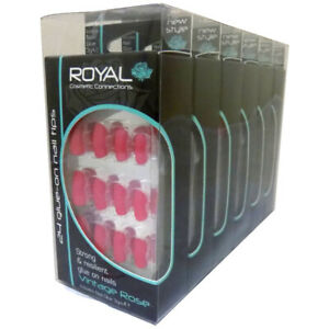 Royal 24 Vintage Rose Nail Tips with 3g Glue Pack of 6