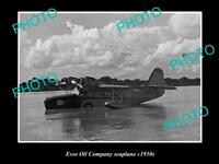 OLD LARGE HISTORICAL PHOTO OF ESSO OIL COMPANY SEAPLANE c1950s