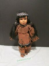 Cathay Collection American Indian Porcelain Doll With Stand 16""