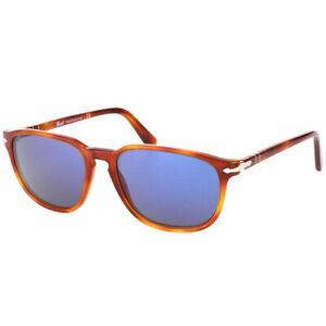 Persol PO 3019 96/56 Terra Di Siena Plastic Sunglasses Crystal Blue Lens 52mm