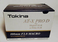 Tokina 100mm/f2.8 ATX M 100 Pro-D Macro Lens Canon  EF Mount Absolutely MINT in