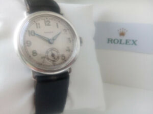 BEAUTIFUL GENTS 1926 SOLID SILVER ROLEX WATCH, GREAT CONDITION, BUT NEEDS REPAIR