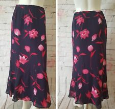 JACQUES VERT,BEAUTIFUL FLORAL SKIRTS,UK10,ZIP UP+BUTTON,NAVY MIX,BARELY USED