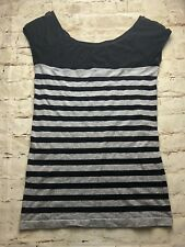 Bebe Black And Gray Striped Mesh Top Cap Sleeve Blouse Size M/L Stretch