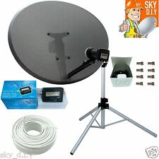 Freesat Sky 80cm Zone 2 Satellite Dish,Quad,Tripod,finder & 30m White Twin Coax