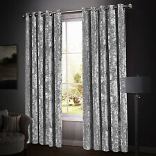 New Crushed Velvet Eyelet Ring Top Blackout Curtains Pair Ready Made Fully Lined
