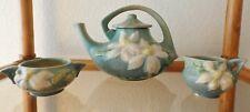 Antique Roseville Pottery Clematis Tea Pot, Creamer, Sugar Bowl Set Light Blue