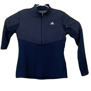 Women's Adidas Blue Long Sleeve Shirt Jacket Pullover Size Medium Fitted
