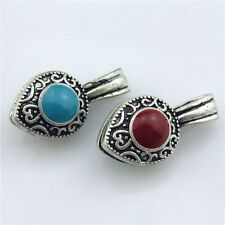 21315 2pcs Vintage Silver Alloy Enamel Red Blue Bead Tassel Retro Ends Cap