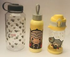 Marvel Comics Chibi Avengers THOR Water Bottle Set Lot: Wide Mouth+Sports+Glass