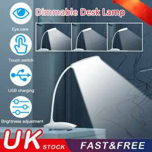LED Flexible Touch Reading Night Light Dimmable Desk Lamp Bedside Study Lamp UK