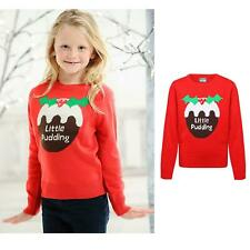 Kids 'Little Pudding' Christmas Bright Red Long Sleeve Jumper-Fun family costume