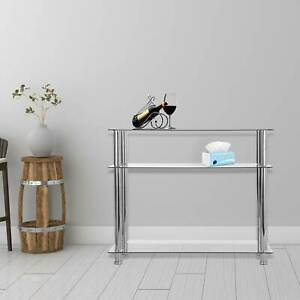 Modern Hallway Glass Console Table Clear Glass Chrome Legs 3 Tier Hall Table UK