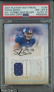 2007 Playoff National Treasures Silver Steve Smith Patch /25 PSA 8 PSA/DNA 10