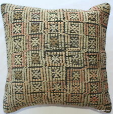 (40*40cm, 16inch) Boho hand woven kelim cushion cover textured greys pastels