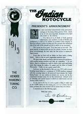 1913 THE INDIAN MOTORCYCLE FOR 1913 SALES BROCHURE