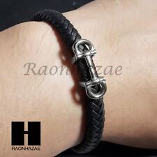 Men's 316L Stainless steel Magnetic Clasp Black Leather Braided Bracelet B005GS
