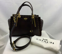 Coach Dreamer With Rivets NWT 35617 Mixed Leather Satchel Handbag Oxblood