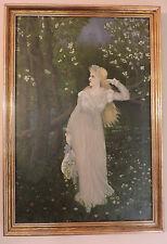 Antique VICTORIAN Sunday Art WOMAN Field of DAISIES Landscape Framed c1888 Art