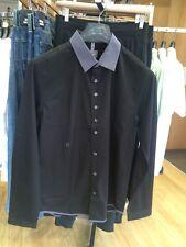 Peter Werth Shirt Black Grey Collar Size MEDIUM BNWT RRP £60